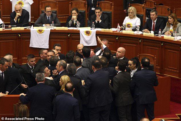 Albania Parliament Clashes